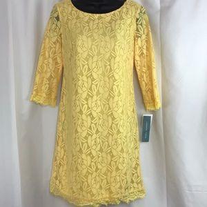 NWT London Time sz4 yellow lace shift dress